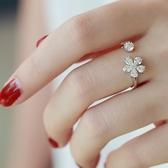 【NiNi Me 】韓系戒指氣質甜美微鑲鋯石小雛菊花朵開口式戒指戒指F0021