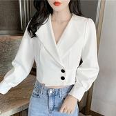 2020年早秋新款外穿百搭長袖襯衫氣質上衣白色短款設計感小眾女裝 【年貨大集Sale】