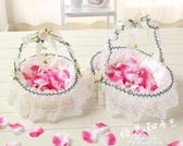 婚慶花籃結婚花童撒花籃手提小花籃婚禮手提花籃裝飾網紗花籃 促銷價