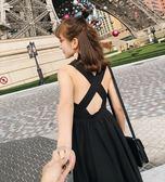 性感心機顯瘦沙灘度假後交叉黑色肩帶連身長裙洋裝沙灘裙