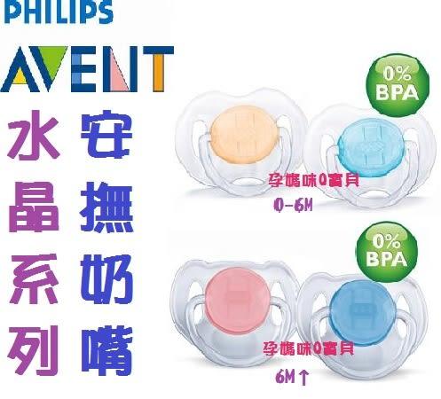 PHILIPS AVENT水晶系列安撫奶嘴(0-6m)無雙酚A最安心