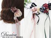 盤髮器 編髮器 韓國連線 氣質 手作 蕾絲花朵蝴蝶結緞帶 珍珠 丸子頭 包包頭 S8050 Danica 韓系飾品