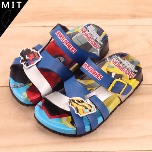 男童 TRANSFORMERS 變形金剛 酷炫多彩配色線條層次立體拖鞋 MIT台灣製 59鞋廊