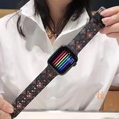適用蘋果手表錶帶iwatch表帶硅膠彩色印花【橘社小鎮】