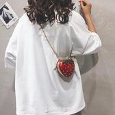 夏季迷你小包包女韓版個性可愛草莓包百搭錬條單肩斜背包【東京衣秀】