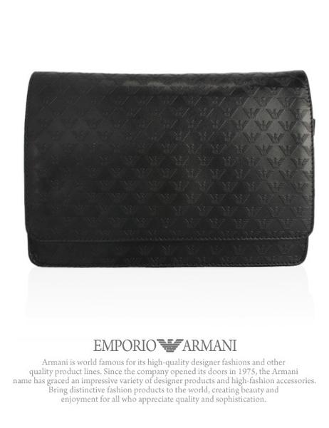 Emporio Armani 滿版皮革LOGO手拿公務包(黑色)102031