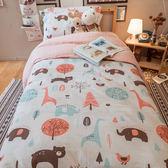 派對動物 K2 Kingsize床包雙人薄被套四件組 100%復古純棉 台灣製造 棉床本舖