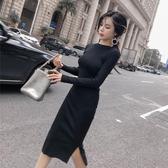 洋裝 2019初秋季新款正韓時尚長袖開叉打底修身顯瘦針織黑色洋裝女春