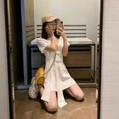 短袖洋裝女春裝新款韓版收腰中長款t恤裙子顯瘦小個子a字裙 錢夫人