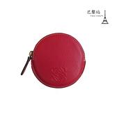 【巴黎站二手名牌專賣店】*現貨*LOEWE 羅意威 真品*紅色圓形拉鍊零錢包