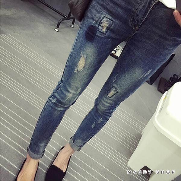 【MN0099】配色補釘 顯瘦窄管牛仔褲.腰圍可調
