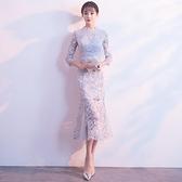 宴會禮服 新式祺袍時尚改良中長款魚尾簡單大方年輕款少女蕾絲旗袍晚禮服裙