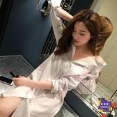 雪紡上衣 韓版中長款白襯衫女bf風長袖襯衣性感睡衣寬鬆上衣雪紡打底襯衫裙