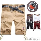 美式潮流 立體口袋抽繩 高磅休閒短褲工作短褲‧五色海灘褲【QZZZ9918 】