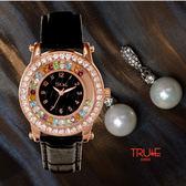 瑞士 TRUeE 瑞時寶嘉  TA150147  時來運轉七彩晶鑽腕錶 (黑)/35mm