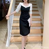 洋裝 夏季2021年新款女裝赫本風連身裙子小黑裙高腰修身中長裙早春季潮 俏girl