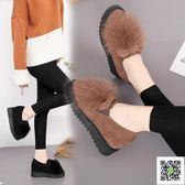 豆豆鞋 毛毛鞋外穿兔毛豆豆鞋女冬季加絨內增高新款網紅一腳蹬棉瓢鞋 玫瑰女孩