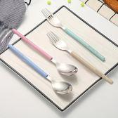 304不銹鋼叉子勺子套裝韓式餐具套裝學生便攜湯勺匙家用調羹勺叉