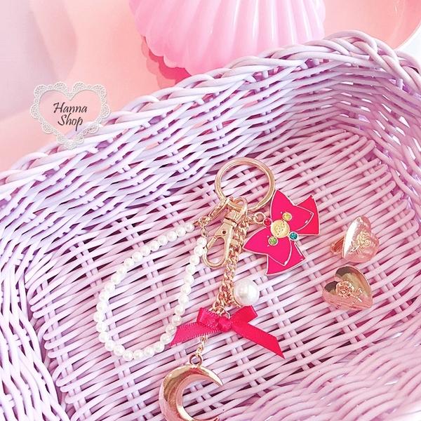 《花花創意会社》月光仙子珍珠蝴蝶結吊飾匙圈。多款【H6492】