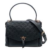 【台中米蘭站】全新品 Louis Vuitton BLANCHE 全皮壓紋掀蓋肩背斜背二用包-MM(深藍)