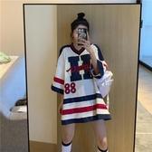 球衣 v領短袖t恤女網紅ins超火帥氣復古港風韓版寬鬆bf棒球服籃球上衣 麗人印象 免運