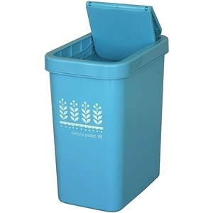 【this-this】滑蓋式垃圾桶18L-水藍色