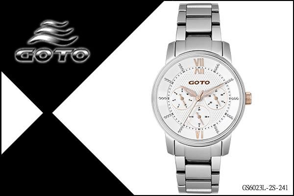 【時間道】[GOTO。錶]個性簡約三眼時尚羅馬刻度(小)/白面玫瑰金刻鋼(GS6023L-2S-241)免運費