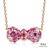 點睛品 完美甜心蝴蝶結18K玫瑰金鑽石彩色寶石項鍊