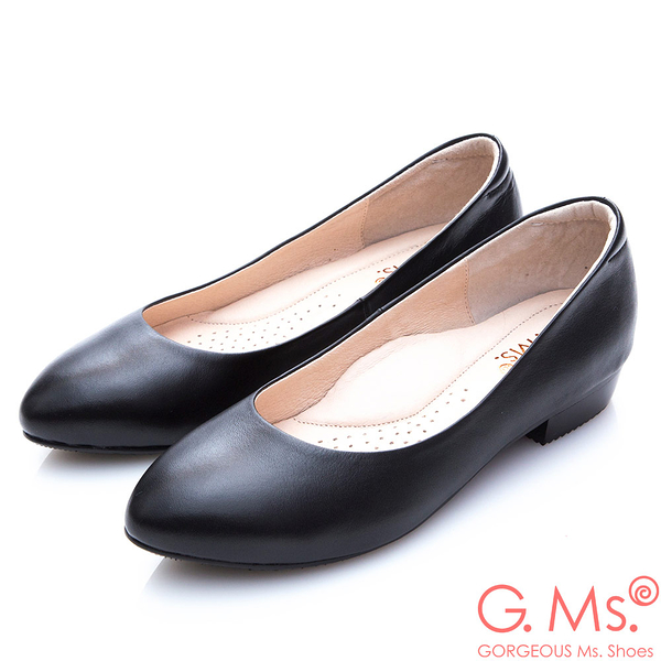 G.Ms.小資X麻吉-MIT手工小尖頭牛皮低跟包鞋-I款黑色