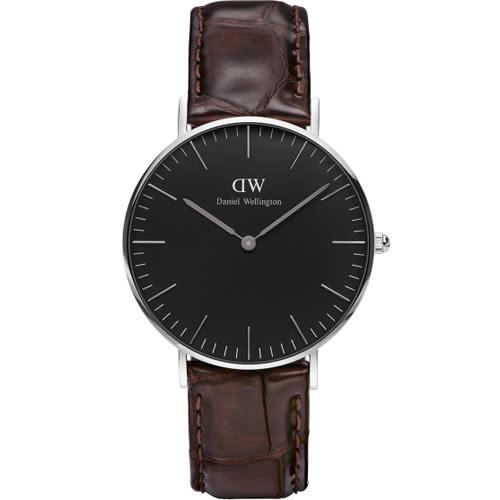 DW Daniel Wellington Classic DW00100146 36mm 壓紋咖啡色 手錶 銀框 現貨!