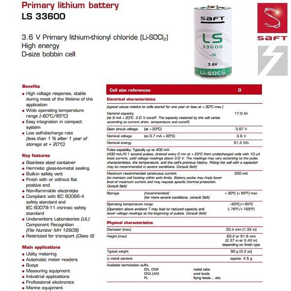 ✚久大電池❚ 法國 SAFT LS-33600 D 單1形 3.6V 17Ah 一次性鋰電 【PLC工控電池】SA14