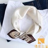 法式簡約復古真絲蠶絲絲巾小方巾女裝飾領巾搭配襯衫【慢客生活】