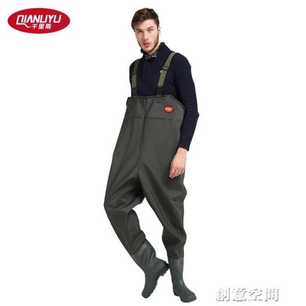 千里雨軍綠pvc針織革下水褲捕魚褲半身連體防水背帶褲耐磨加厚 創意新品