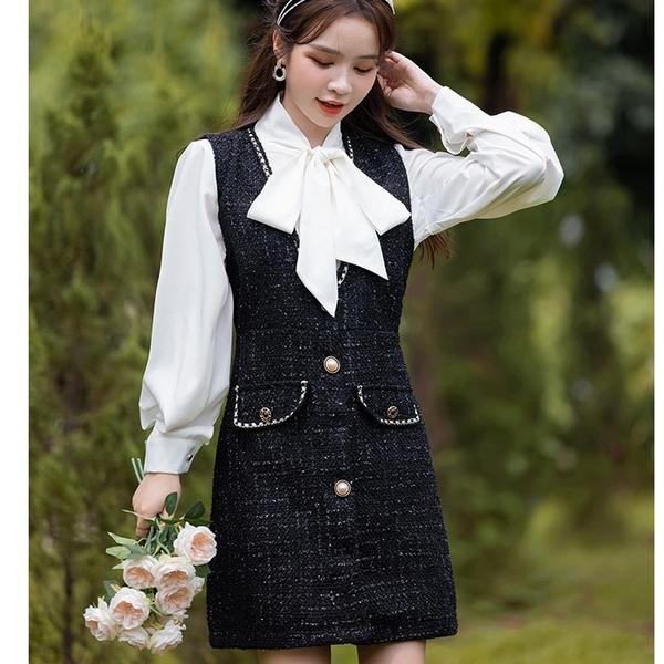 兩件套黑白配色毛呢短洋裝(白上衣+黑背心裙)[99251-QF]美之札