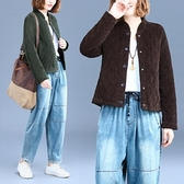 現貨綠L文藝復古燈芯絨棉衣短外套女寬鬆大碼長袖百搭上衣9872