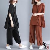 大尺碼女正韓半袖上衣闊腿褲顯瘦兩件時尚套 超值價