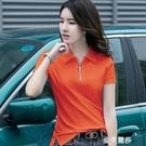 夏裝新款韓版polo衫女短袖有領t恤拉鏈...