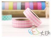 紙膠帶-和紙膠帶格紋 粉紅色v.2