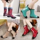 雨鞋雨鞋女中筒韓國時尚雨靴保暖成人套鞋工作防水鞋防滑水靴膠鞋 雲朵走走