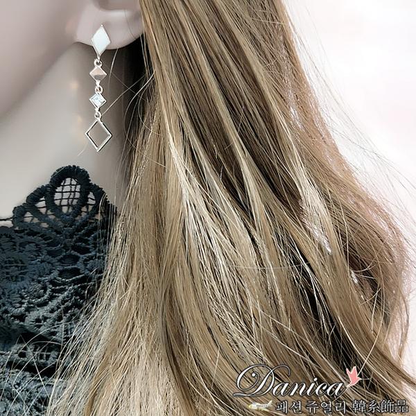 耳環 現貨 韓國氣質簡約幾何菱形不對稱垂墜耳環 夾式耳環 S93266 批發價 Danica 韓系飾品