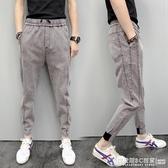 牛仔褲男 新款夏季男士純色小腳褲精神社會小伙休閒牛仔褲彈力薄款九分褲潮 圖拉斯3C百貨