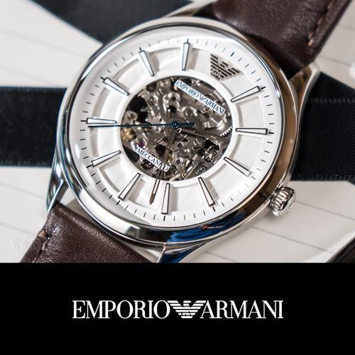 EMPORIO ARMANI 亞曼尼 尊爵時尚鏤空設計機械錶 AR1946