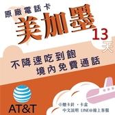 《美國純網卡》美國AT&T 13天上網吃到飽 僅美國可使用/不降速吃到飽/美國網卡/旅遊網卡