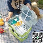 購物籃手提籃野餐籃折疊戶外雙層送餐箱手提籃子【海闊天空】