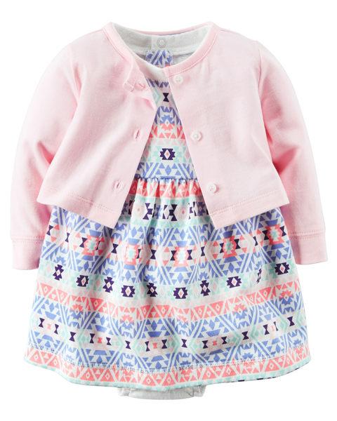 【美國Carter's】套裝2件組-粉嫩圖騰包屁式洋裝+純棉小外套 121G830