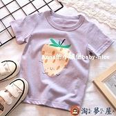 女童短袖純棉草莓短袖T恤寶寶圓領打底衫上衣【淘夢屋】