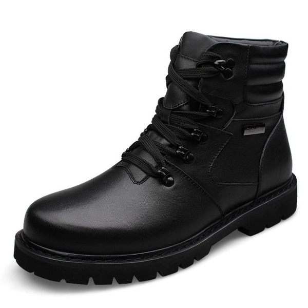 新款男士高幫鞋男戶外高幫雪地靴加毛加厚保暖皮鞋 大碼37-48