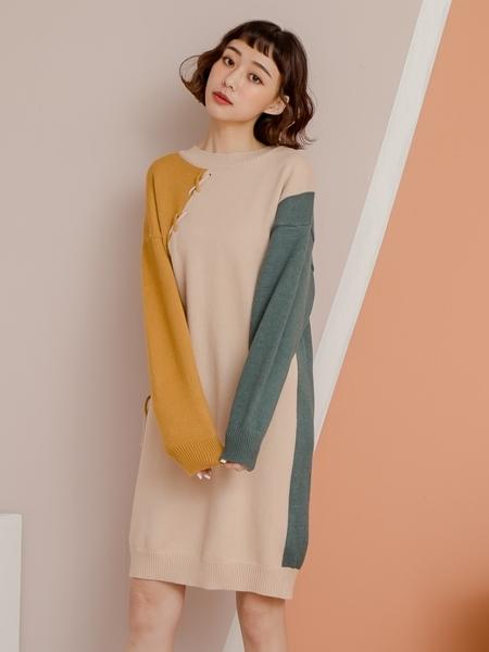 杏色斜交叉綁繩拼色細針織洋裝