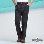 【Emilio Valentino】范倫鐵諾質感素面雙摺純棉休閒褲- 深灰