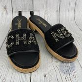 BRAND楓月 CHANEL 香奈兒 黑色 毛呢 經典皮穿鍊 金鍊裝飾 字母LOGO 軟木鞋底 拖鞋 #39